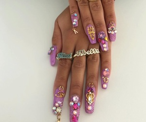 acrylics, nails, and diamonds image
