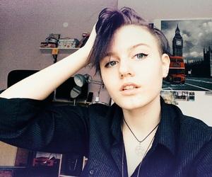 me, purple hair, and short hair image
