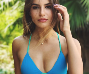 bikini, swimsuit, and brunette image