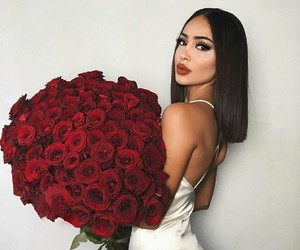 pretty girl, roses, and beautiful lady image