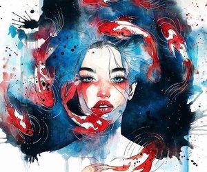 art, fish, and drawing image