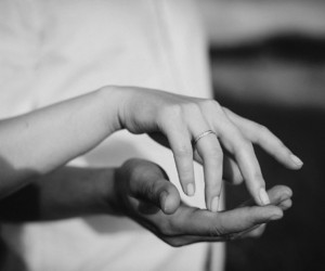 black and white, hands, and couple image