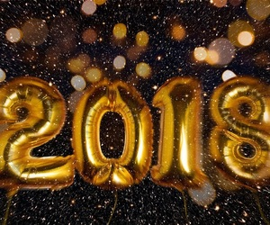 2018, gold, and happy new year image