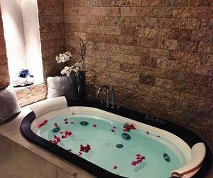 bathtub, design, and roses image