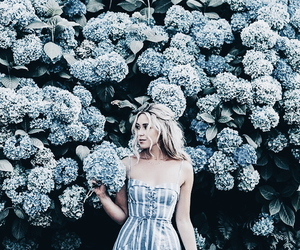 blue, flowers, and girl image