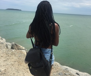 beach, black, and black girl image