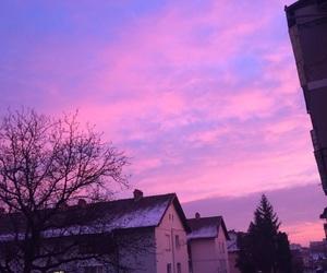 city, sunrise, and violet image