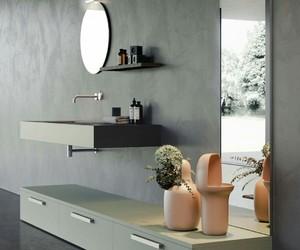 gris, rose, and salle de bain image
