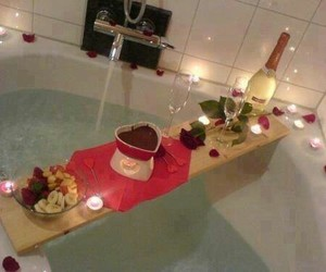romantic, rose, and bath image