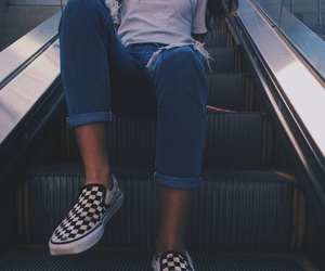 blue jeans, escalator, and girl image