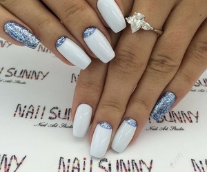 manicure, white nails, and nail art image