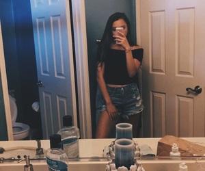 bathroom, blue, and girl image