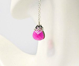 bridal jewelry, pink crystal, and elegant earrings image