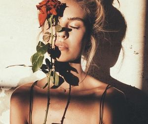 girl, happy, and roses image