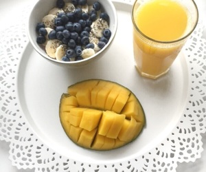 banana, blueberries, and mango image
