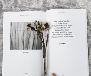 book, flowers, and writing image