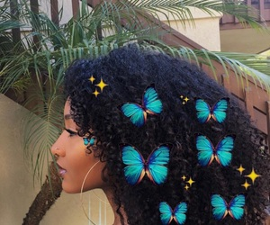 butterflies, curls, and hoops image