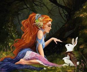 wonderland, alice white rabbit, and redhead alice image