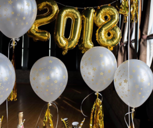 black, gold, and happy new year image