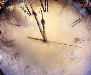 clock, christmas, and snow image