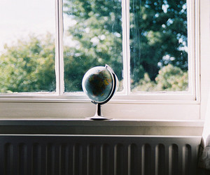 window, globe, and vintage image
