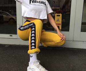 thrasher, yellow, and outfit image