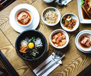 kimchi, korean food, and bibimbap image
