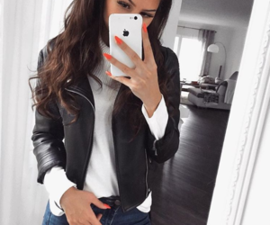 black, fashion, and leather jacket image
