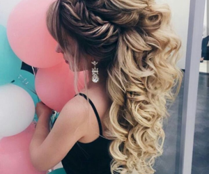 blonde, curls, and hair image