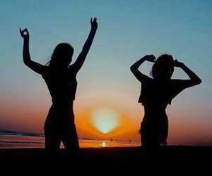 bff, sunset, and friendship image