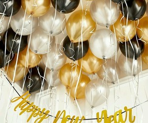 balloons, gold, and happy new year image