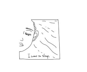 black and white, sleep, and art image