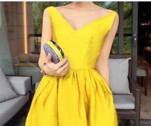 girl, yellow, and yellow theme image