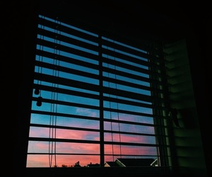 window, sky, and sunset image