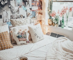 bedroom, home, and flowers image