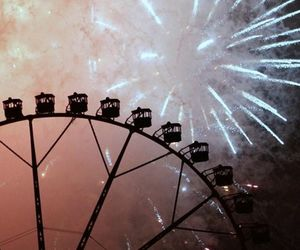 fireworks, night, and ferris wheel image