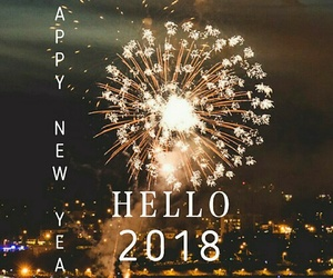 happy new year, goodbye 2017, and 2018 image