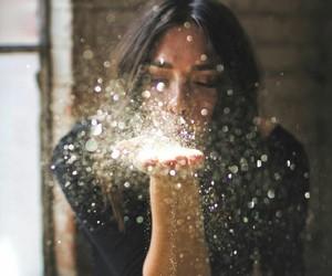 girl, glitter, and light image