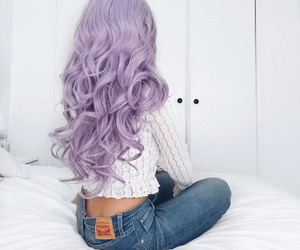 blue, lace, and wavy hair image
