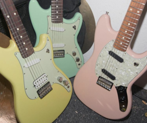 bass, guitar, and pastels image