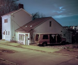 house, night, and street image