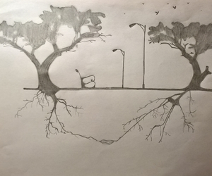 black and white, drawing, and together image