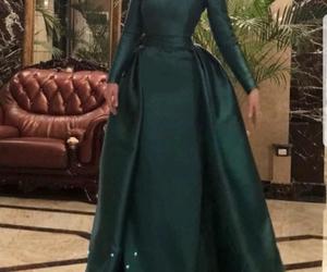 dress, emerald, and hijab image