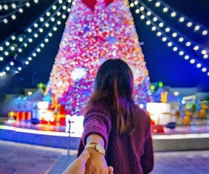 christmas tree, couple, and lighting image