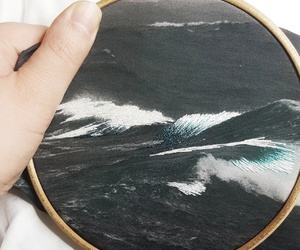 art, needlepoint, and ocean image