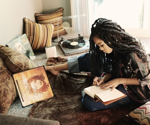journal, pillows, and records image
