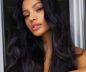 beautiful woman, winged eyeliner, and pink lipstick image