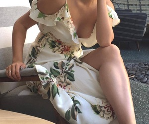 dress, florals, and girl image