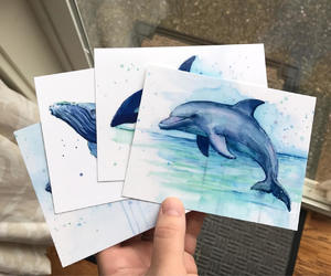 art, cards, and killer whale image