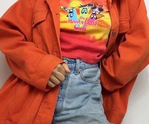 the powerpuff girls, light blue jeans, and orange graphic t-shirts image